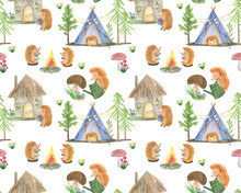 Watercolor Painting Seamless Pattern With Hedgehogs In Forest