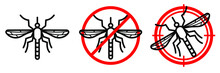 Anti Mosquito Vector Line Icon Set. Editable Stroke. Red Prohibiting Sign And Aim Sign With Insect Inside. Minimal Design