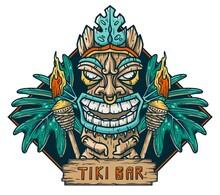 Surfing Tiki Mask Hawaii Wooden Tiki Mask For Trendy Bar. Traditional Ethnic Idol And Hawaiian Surf, Maori Or Polynesian. Design Old Tribal Totem
