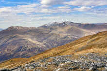 Mountain Summits Of Meall Greigh, Ben Lawers And Meall Garbh From Meall Na Aighean In The Winter. Scottish Highlands, UK Landscapes.