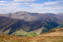 Mountain Summits Of Ben Lawers And Meall Garbh With Glen Lyon Below From The Summit Of Meall Na Aighean In The Winter. Scottish Highlands, UK Landscapes.