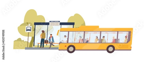 Fototapeta Arrived bus with passengers and people waiting at public transport stop in nature. Landscape with suburban station. Colored flat vector illustration isolated on white background obraz