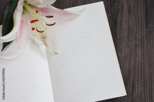 Tela Empty notebook and pink stargazer lily flower on wooden background