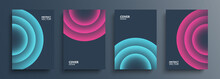 Cover Templates Set With Vibrant Gradient Round Shapes. Futuristic Abstract Backgrounds With Glossy Sphere For Your Graphic Design. Vector Illustration.