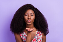 Photo Of Young Afro Girl Pouted Lips Send Air Kiss You Flirty Romantic Isolated Over Purple Color Background