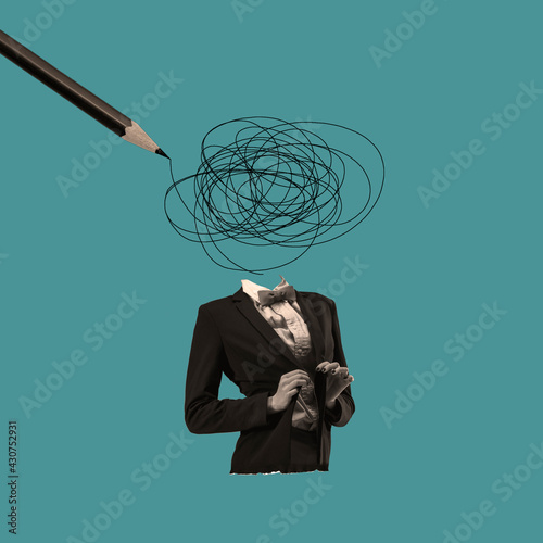 Fototapeta Modern design, contemporary art collage. Inspiration, idea, trendy urban magazine style. Hard thoughts in woman's head on blue background obraz