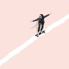 Modern design, contemporary art collage. Inspiration, idea, trendy urban magazine style. Woman riding on skateboard on pastel background