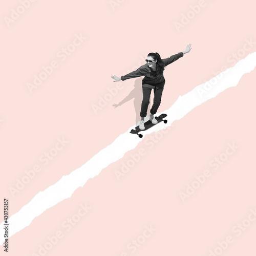 Modern design, contemporary art collage. Inspiration, idea, trendy urban magazine style. Woman riding on skateboard on pastel background