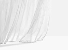 White Lightweight Fabric Curtain Fluttering Realistic Vector Illustration Mock Up. Shower Or Window Fabric On A Curtain Rod Template.