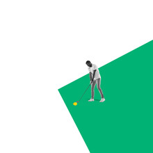 Modern Design, Contemporary Art Collage. Inspiration, Idea, Trendy Urban Magazine Style. Male Golf Player With Lemon Instead Ball On Bicolored Background