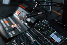 Close Up View Of Radio Mixing Desk With Professional Sound Equipment