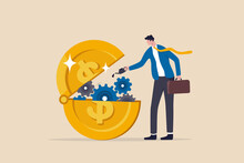 Financial Or Money Liquidity To Help Economic Stimulus, Central Bank Monetary Policy To Help Lubricate Economy Concept, Businessman Put Lubricant Oil On Machine Gear Of Opening Money Dollar Coin.