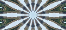 Kaleidoscope In Soft Sky Blue And Greenish Grey