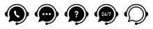 Support Service Icon. Call Center Icons Set. Live Chat Concept. Online Support System Of Speech Bubble. Flat Vector Illustration On White Background.