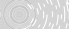 Circular Lines Geometric Background In Abstract Style. Modern Line Art Illustration With Black Circular Concentric On Halftone Design Template.