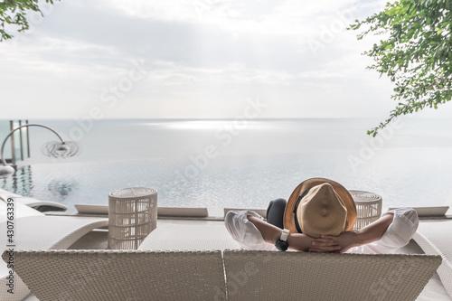 Relaxation holiday vacation, work-life balance of businessman take it easy happi Fototapeta