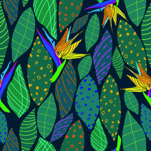 Seamless Pattern With Yellow-orange Royal Strelitzia Flowers On A Blue Background .