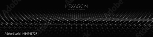 Hexagon wave vector template. Modern 3d graphic geometric background. Digital technology web flow abstract background. EPS 10. - fototapety na wymiar
