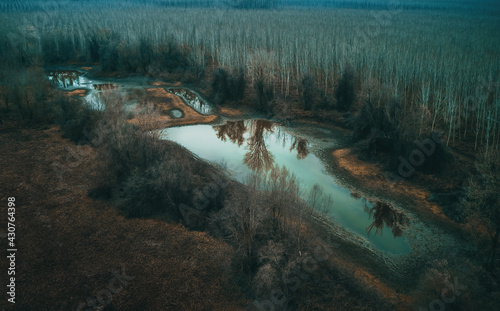 Obraz na plátně Aerial view of drying pond lake in secluded wooded area in cold autumn morning