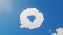 3d Rendering Of White Clouds In Shape Of Symbol Of Multimedia On Blue Sky With Sun