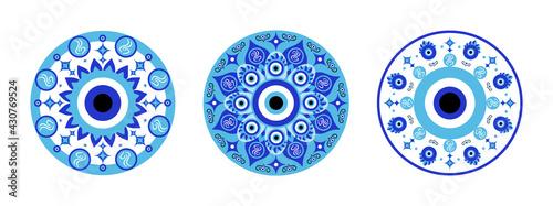 Fotografia Blue mandala evil eye, greek amulet against evil eye