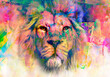 lion head with creative colorful abstract elements on light background