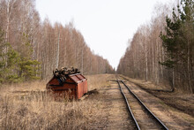Narrow Gauge Railway In A Swamp Where A Wagon With Peat Overturned