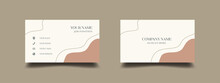 Elegant Business Card Design Template. Feminine Background With Pastel Earth Tone Color. Vector Illustration Ready To Print.