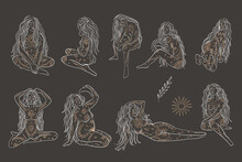 Woman Contour Astrology, Goddess Of Female Power. Zodiac Signs, Tarot Cards, Fortune-telling And Predictions, Forecast