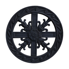 Black Metal Ornament With The Cross Isolated On White Background. Design Element With Clipping Path