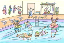 Hand Drawn Cartoon Illustration Of A Public Swimming Pool. Different Animals Having Fun And Relax, Diving Under Water In Swimsuits And Floating With Rubber Ring. Coloring Book Page.