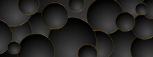 Abstract Geometric Clean Minimal Background With Black And Gold Circles. Elegant Design For Print, Fabric, Wallpaper, Card