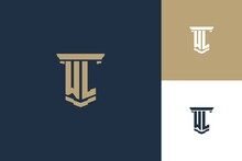 WL Monogram Initials Logo Design With Pillar Icon. Attorney Law Logo Design