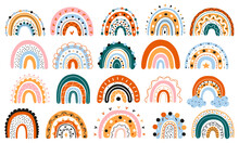 A Large Set Of Scandinavian Rainbows With Ornaments. Colorful Modern Set With Abstract Rainbow Icons. Hand-drawn Children's Boho Decorations. For Design, Posters. Flat Style. Vector. Isolated Objects.
