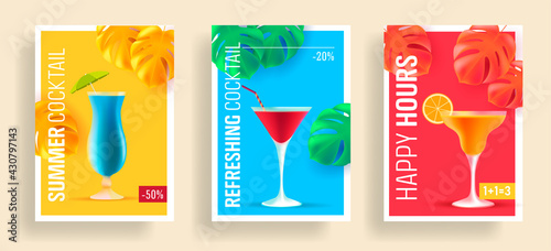 Fotografia Summer sale posters with promo deals for alcohol cocktails, realistic 3d illustr