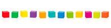 Colored Cubes. Set Of Twelve Colorful Cubes In A Row. Isolated Vector Illustration On White Background.