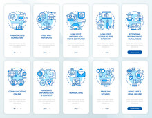Digital Inclusion Blue Onboarding Mobile App Page Screen With Concepts Set. Digitalization Walkthrough 5 Steps Graphic Instructions. UI, UX, GUI Vector Template With Linear Color Illustrations