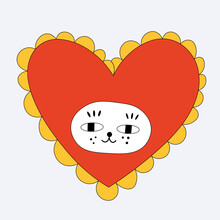 Kitten In A Heart Shape Costume. Funny Card For Valentine's Day. Dress Up The Cat. Funky And Groovy Heart. Sticker Bizarre With A Cat. Template For Tattoo And Silhouette For Plotter