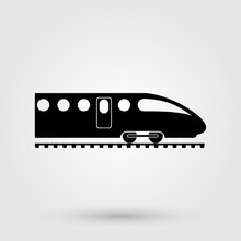 High Speed Train Icon. Fast Public Transport Sign.