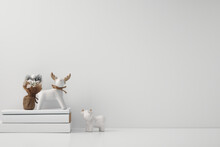 Porcelain Figurine Of A Deer And A Bull And New Year's, Festive Decor. Copy Space, Mock Up.