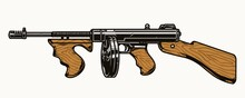 Thompson Submachine Gun Colorful Concept