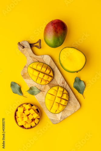 Breakfast with mango fruits. Tropical fruits background. Top view