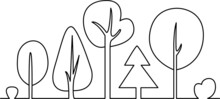 A Set Of Stylized Trees Drawn With A Single Line. Vector Coloring Book With Trees And Bushes. Design Of A Single Line Silhouette Of Trees. Hand Drawn Font