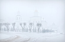 Ascension Monastery In A Severe Blizzard In Smolensk