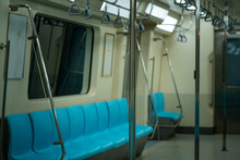 Empty Underground Electric Bogies Are Free Of People Due To The COVID-19 Epidemic Status.