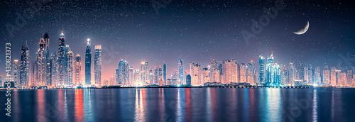 Dubai Marina at night, UAE - fototapety na wymiar