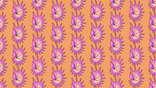 Summer Beach Seashell Pattern On Peach. Vector Seamless Background. Simple Elegant Ocean Sea Shell Fabric Pattern. Vector Illustration
