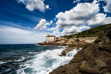 Castle Of Boccale With Waves And Clouds Livorno Italy