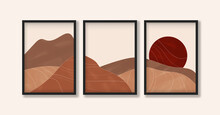 Desert Landscape With Sun In Earth Tones In Boho Style. Modern Abstract Triptych Artwork For Print, Poster And Art Product.