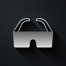 Silver Safety Goggle Glasses Icon Isolated On Black Background. Long Shadow Style. Vector